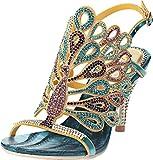 Salabobo L012 - Sandalias de tacón de pavo real para mujer con brillantes y bonitas puntillas de alto rendimiento, vestido de novia, novia, fiesta, trabajo, ocio, zapatos, color Azul, talla 37.5/38 EU