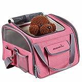 Transportin para perros Transportadora para gatos Bolso para transportar mascotas en coche, Rosa Claro