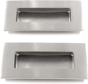 T Tulead 2PCS Stainless Steel Pocket Door Handles Recessed Door Handle Rectangular Flat Sliding Door Pulls Brushed Nickel Flush Pull Handle 4-Inch Length with Screws