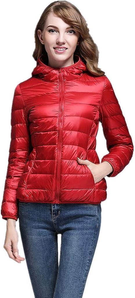Doric Womens Hooded Down Jacket Lightweight Packable Puffer Down Coats Short Parka Jackets Winter Warm Coats(S-3XL) Red