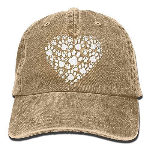 AINCIY Moda Algodón Denim Béisbol Corazón Perros Patas 1 Sombrero clásico para papá Ajustable