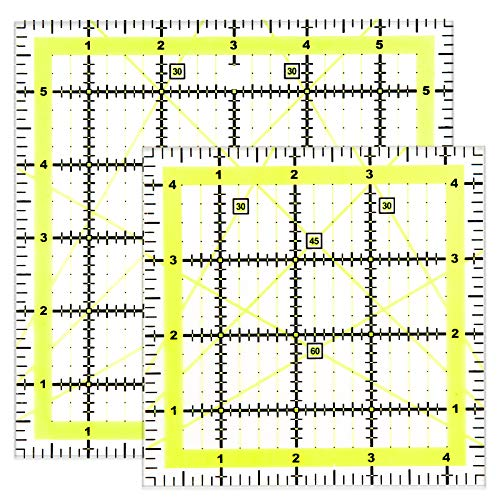 Kuppt 2 Stück Univeral Quilten Lineal, 11.5cm und 15.2cm Nähen Lineal, Patchwork Lineal, Schneider Lineal, Transparent Basteln Lineal für Nähen & Quilten