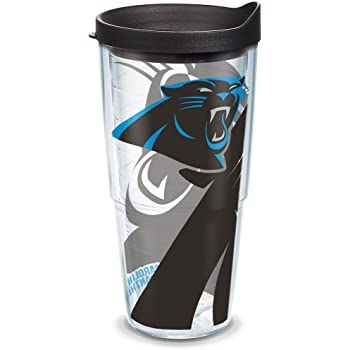 Clear Tervis 1180532 NFL Carolina Panthers Gridiron Tumbler with Wrap and Black Lid 24oz