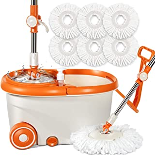 Spin Mop with 6 PCS Microfiber Mop Refills & Stainless Steel Rotating Bucket Set 9.6L Mop and Bucket on Wheels for Floor Cleaning Masthome