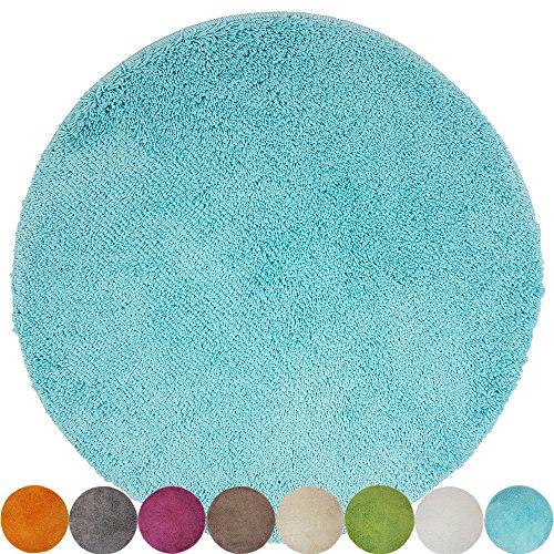 DILUMA Tapis de Bain Rond Lasalle Anti-Glissant et Douillet (diamètre 60 cm 1200 g/m²) - Absorbant et antidérapant, Couleur:Turquoise