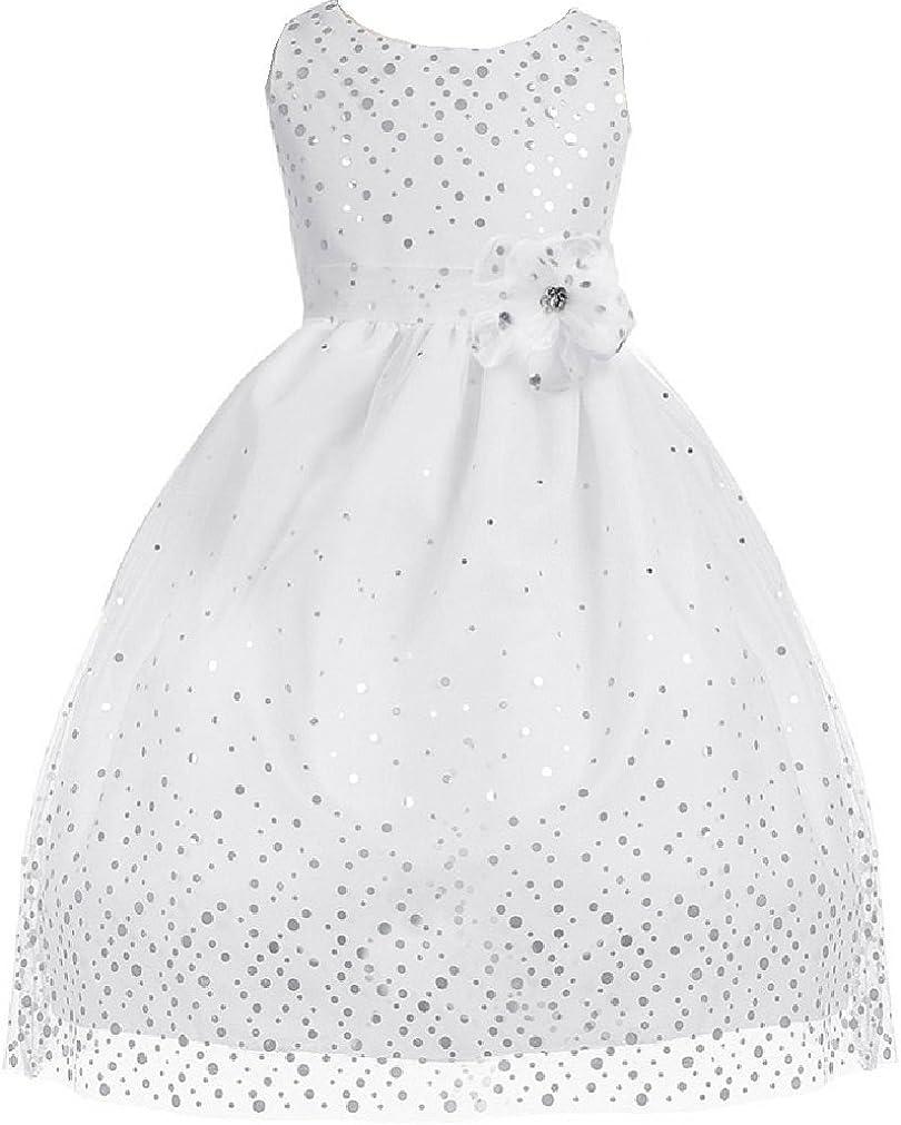 Little Girls Adorable Elegant Sparkling Polka Dotted Mesh Flowers Girls Dresses