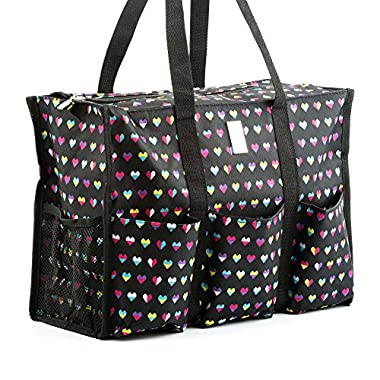 Nurse Bag with Multiple Pockets & Compartment - Perfect Nursing Tote for Work or School to Carry Medical, Nursing Supplies, Books, & Personal Items (Hearts)