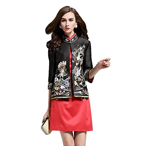 1483f6474 Icegrey Women's Flower Bird Embroidery Chinese Jacket Tang Coats