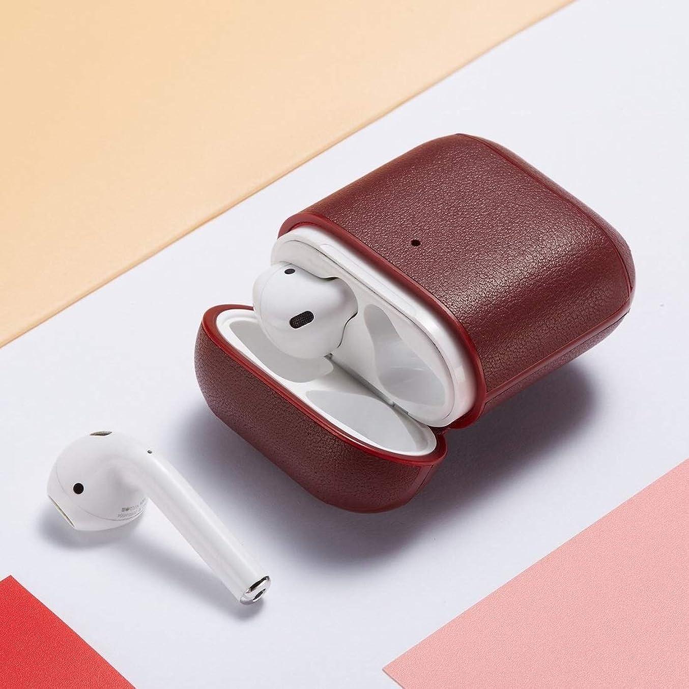 提案アライアンス呼吸するJIANGNIJPイヤホン保護ケース Apple AirPods 1/2の本革イヤホン保護ケース (色 : 黄)