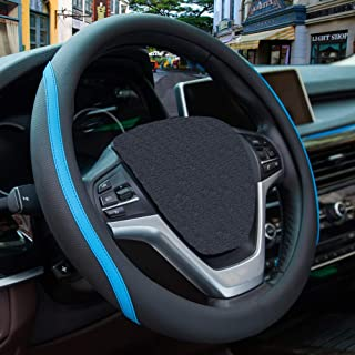 Microfiber Leather Steering Wheel Cover - Soft Grip Black Blue Sport Universal 15 inch for Car