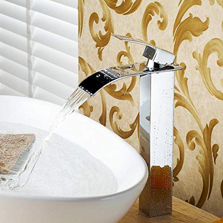 Wasserhahn-Brand New Chrome Vessel Wasserfall Wasserhahn poliert Einlochmontage Badezimmer Loch montiert Wasserhahn