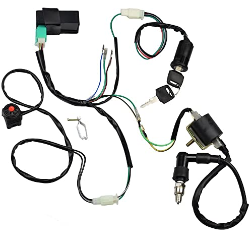 Minireen Wire Harness Wiring Loom CDI Ignition Coil Spark Plug Rebuild Kit for 50cc 70cc 90cc