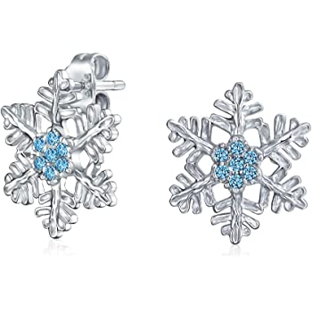 Petite Holiday Party Flower Christmas Winter Clear Blue Cubic Zirconia Accent CZ Snowflake Stud Earrings For Women Teen 14K Gold Plated 925 Sterling Silver