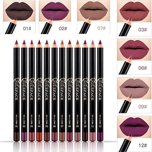 Shemrow - 12matite colorate per contorno labbra,impermeabili, per labbra morbide e lisce