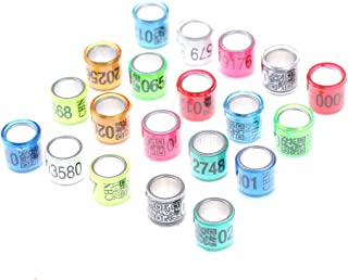 BraveWind 40 Pcs Aluminum Bird Rings Leg Bands Racing Pigeon Foot Ring for Pigeon Parrot Finch Canary Hatch Poultry Rings,Color Random