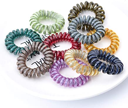 Spiral Hair Ties Power Traceless Hair Ring Rubber Coil Hair Bands Ponytail  Holders No Crease for 82bf514b538