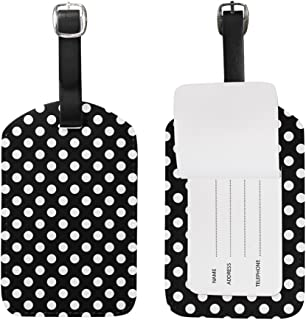 Mydaily Classic Black And White Polka Dot Luggage Tag PU Leather Bag Suitcases Baggage Label