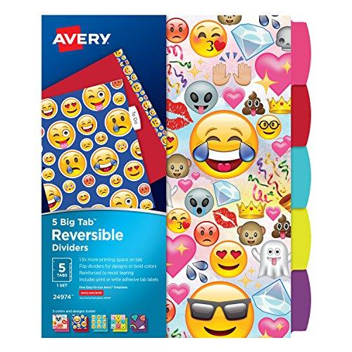 Avery Big Tab Reversible Fashion Dividers, Emojis, 5-Tab Set (24974)