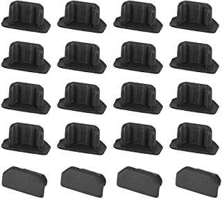 uxcell 20pcs Silicone Micro USB Cap Port Cover Anti Dust Protector 6.5mmx2.3mm Black
