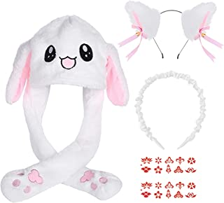 Rabbit Hat,Bunny Hat,Bunny Beanie,Bunny Ear Hat with Moving Ears,Bunny Hat with Ears,Fluffy Bunny Hat,Floppy Bunny Hat,Bun...