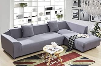 TT&CC Jacquard Slipcover,Stretch Couch Covers Polyester Spandex Fabric Universal Sofa Covers for Sectional Sofa L-Shape Couch-C 4 seaters 235~300cm(93~118inch)