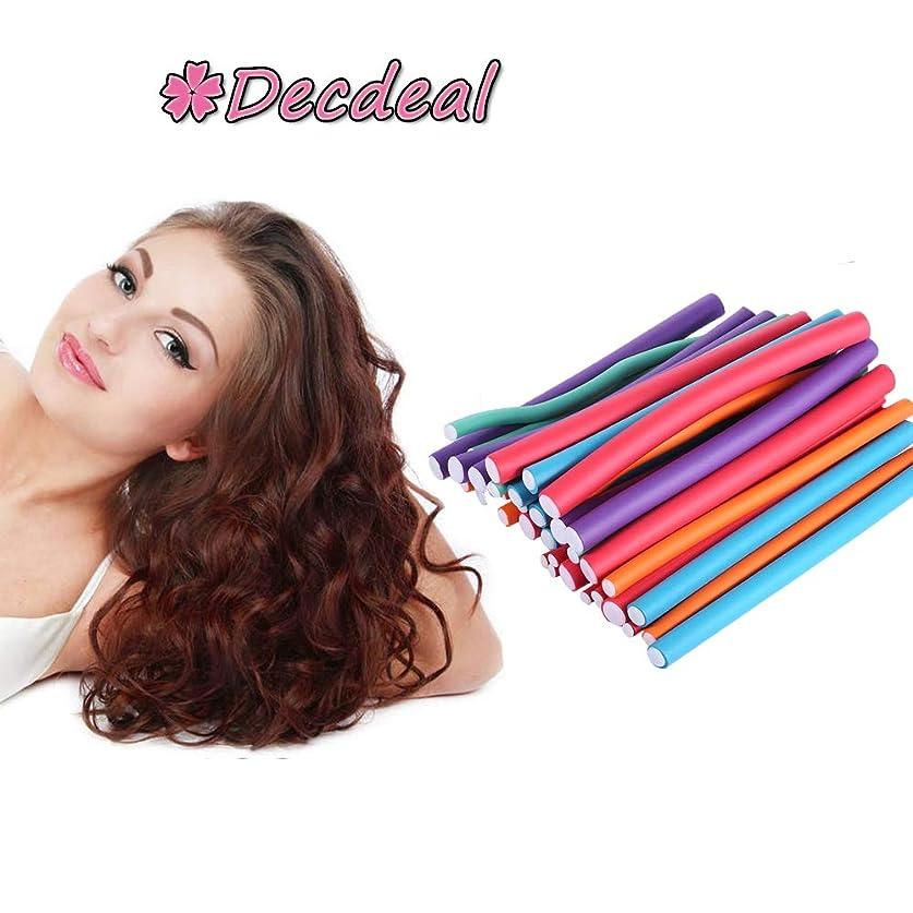 Decdeal 36pcs ヘアローラー カーラーメーカー DIY スタイル フレキシブルカールロッド 美容ツール