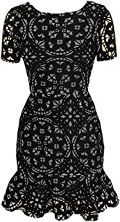 Love…Ady Fit and Flare Skater A-line Dress in Unique High Contrast Black/White Bonded Netting and Laser-Cut Neoprene Fabric