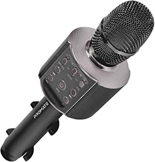 Promate Karaoke Microphone with Phone Holder, Portable Bluetooth Rechargeable Karaoke Mic with Speaker, Multi-Color LED Li...
