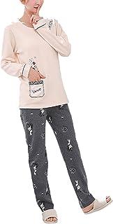 Sleepwear Womens Mens Spring Autumn Fashion Loose Casual Pajamas Comfortable Sizes Sleepshirts Long Sleeve Round Neck Prin...