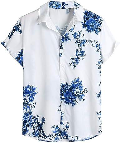 Camisas Hombre, Verano Hawaii Vacaciones Manga Corta ...