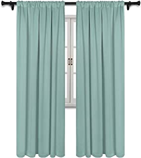 SUO AI TEXTILE Thermal Insulated Drapes Rod Pocket Top Blackout Room Darkening Window Panels Energy Efficient Window Curtains,Aqua, 2 Panels, 37 x 95 Inch