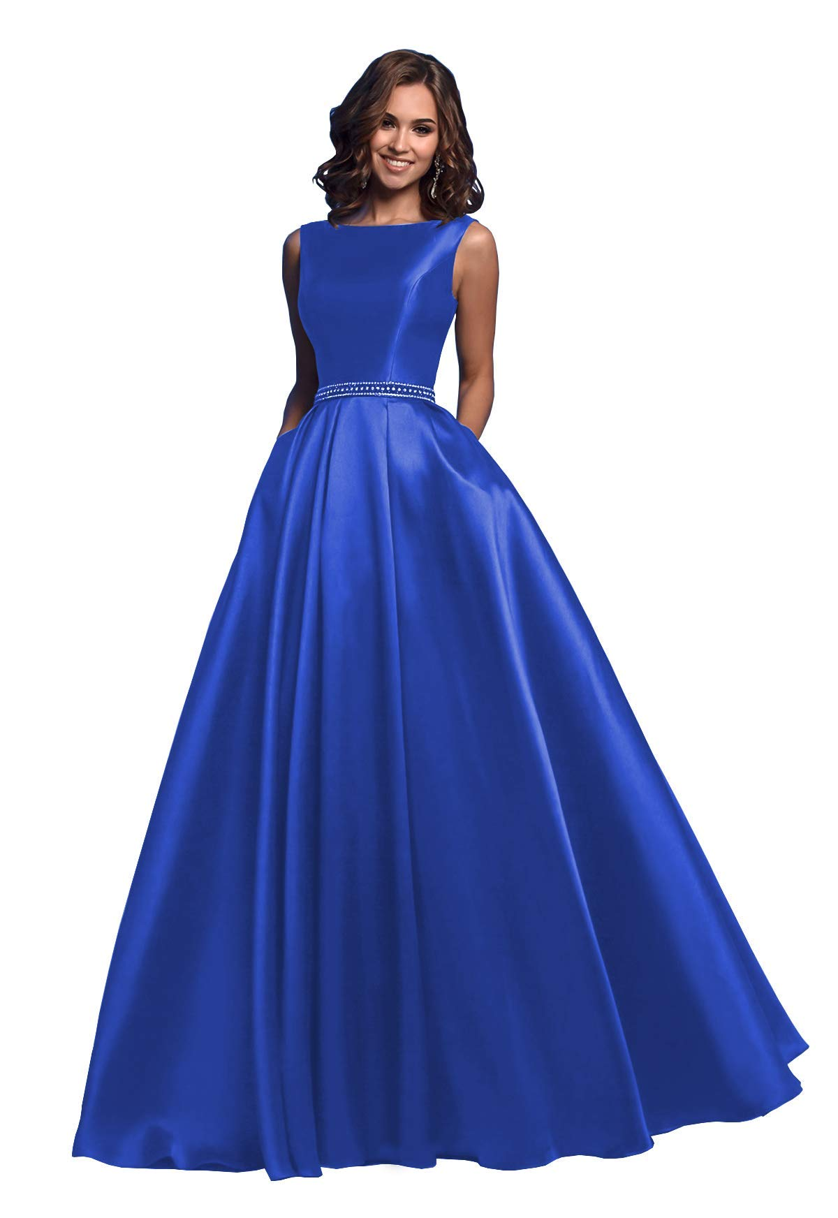 Available at Amazon: Elleybuy Women's A-Line Sleeveless Beaded Satin Long Prom Dress with Pockets Open Back Formal Evening Gown 2020