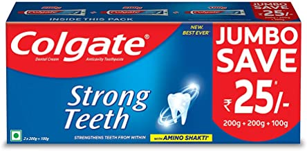 Colgate Strong Teeth Anticavity Toothpaste with Amino Shakti - 500 g Saver Pack