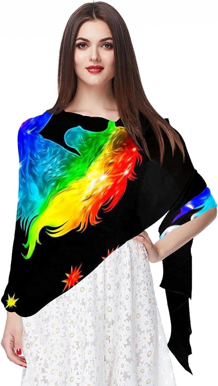 Scarfs for Women Lightweight Fashion Scarves Print Floral Pattern Scarf Shawl Wraps, Unicorn Galaxy