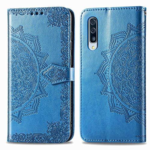 Bear Village Hülle für Galaxy A90 5G, PU Lederhülle Handyhülle für Samsung Galaxy A90 5G, Brieftasche Kratzfestes Magnet Handytasche mit Kartenfach, Blau