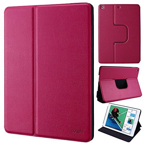 doupi FlipCase für iPad Air/iPad Air 2, Deluxe Schutzhülle Klappbar mit Smart Sleep/Wake Up Funktion Aufstellbar Ständer, redpink
