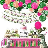 90個 ガールズ 恐竜 パーティー 記念品 デコレーション 恐竜 誕生日 バナー バルーン ガーランド ヤシの葉 ティッシュペーパー タッセル ガーランド 赤ちゃん 女の子 誕生日 小さな恐竜用品