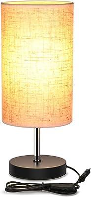 Lightess Lampe de Chevet E27 Lampe de Table de Bureau Abat-jour en Tissu Moderne Eclairage Décoration Lumière pour Chambre à Coucher Salon Café Hôtel Bureau Chambre de Bébé (Rond)