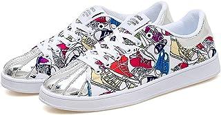 Shoes スニーカー 男女 ファッション カジュアル 通気性 軽量 個性 スポーツ シューズ Comfortable (Color : White And Purple, サイズ : 23.5 CM)