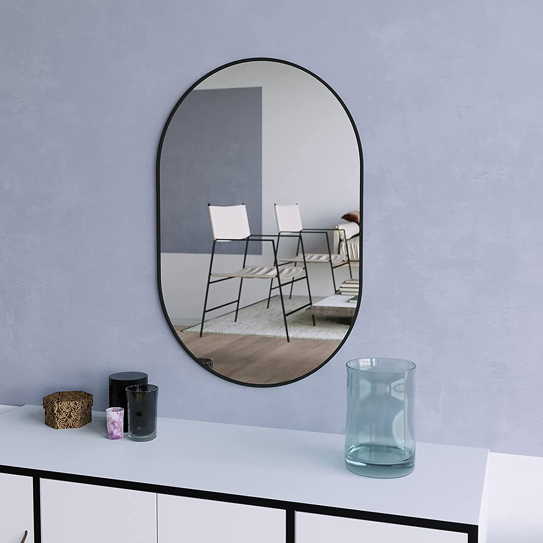 Buy Beautypeak Wall Mounted Mirror 26x38 Oval Bathroom Mirror Black Vanity Wall Mirror W Metal Frame For Vertical Horizontal Hang Ideal For Bedroom Entryway Living Room Online In Vietnam B08ywbgsj4