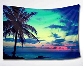 HMWR Tropical Palm Tree Wall Tapestry Hanging Beatiful Tropical Sea Sunset Landscape Wall Decor for Living Room Bedroom Dorm Decor 60x80 Inch