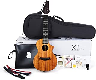 Enya EUC-X1C Cutaway Concert Ukulele HPL 23 inch Bundle with String, Tuner, Strap,Fingershaker,Gig bag,Capo,Picks,Polishing cloth (Concert)