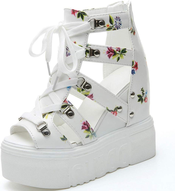 Hoxekle Woman Peep Toe Lace Up Back Zipper Wedge Platform High Heel Sandals Punk Style Girl Summer shoes