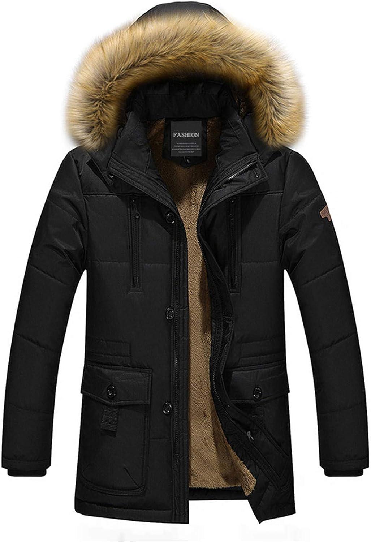新入荷 流行 Men's Winter Jacket Thick Fleece メーカー公式 Warm Collar Fur Coat Men Hooded