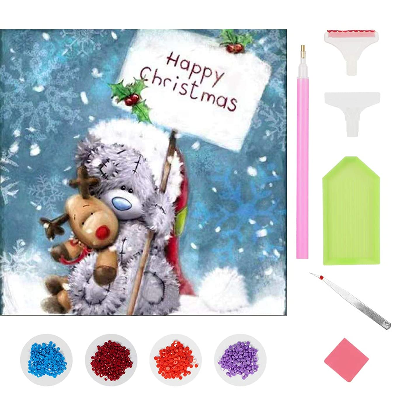 Hapet 5D Diamond Painting Christmas Bear&Reindeer, DIY Diamond Painting Kit Full Drill Round Diamond Cross Stitch Art Craft for Canvas Wall Decor(12x12inch/30x30cm)