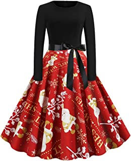 TOTOD Christmas Dress for Women, Women's Vintage Lace Short Sleeve Print Hepburn Party Elegant Swing Dress