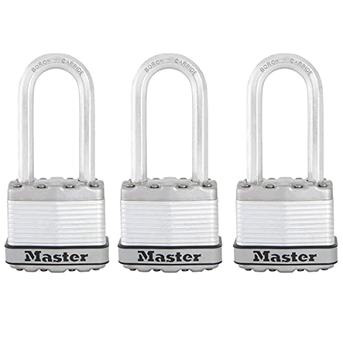 MASTER LOCK Heavy Duty Padlock [Key] [Laminated Steel] [Long Shackle] [Weatherproof] [Pack of 3] M1EURTRILH - Best Used for Storage Units, Sheds, Garages, Fences