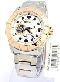 Seiko SSA074 Skeleton Unisex Rose Gold white face dial watch