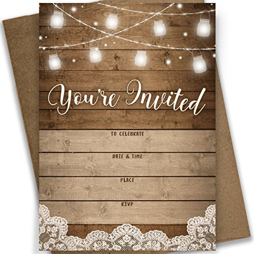 You're Invited! | Rustic Fill-in Party Invitations | 25 Invites and Envelopes | All Occasions - Bridal Shower, Baby Shower, Rehearsal Dinner, Birthday Party, Anniversary!