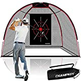 CHAMPKEY Upgraded TEPRO 10' x 7' Golf Hitting Net   5 Ply-Knotless Netting with Impact Target Golf Practice Net Ideal for Indoor and Outdoor Training